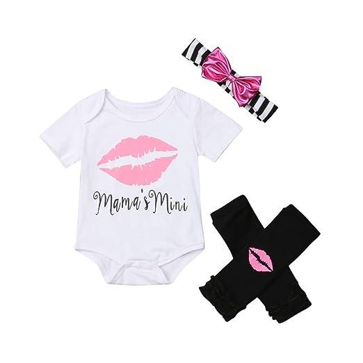 5f767a0c65b Amazon.com  3PCS Newborn Baby Girl Clothes Cotton Lips Mama Romper Bodysuit  Jumpsuit Black Leggings Outfit Set +Headband  Clothing