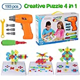 baobe Creative Puzzle 4 in 1 Kids Building Games Set Design & Drill Activity Center, Electric Drill Screwdriver Tool Set Educational 3D Building Blocks Construction Games