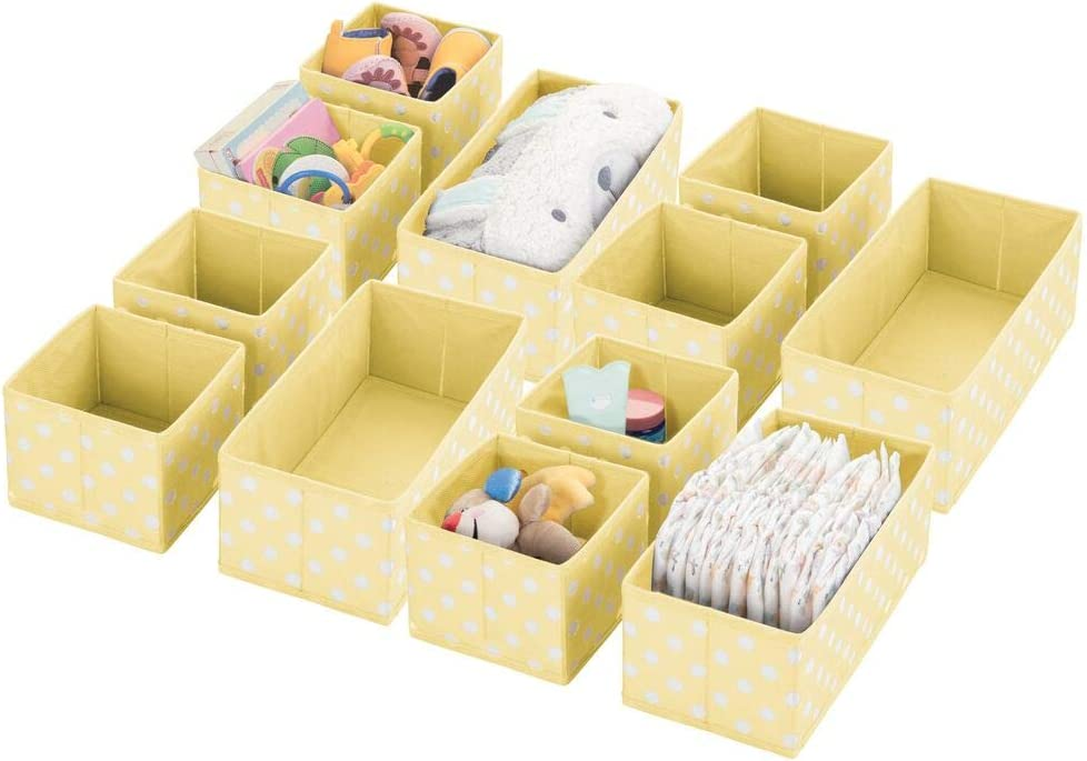 mDesign Soft Fabric Dresser Drawer and Closet Storage Organizer for Kids/Toddler Room, Nursery, Playroom, Bedroom - Organizing Bins in 2 Sizes, 12 Pieces - Light Yellow/White