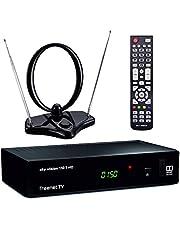 sky vision DVB-T2 Set met HD-ontvanger, kamerantenne, HDMI-kabel en SCART kabel (digitale antenneontvanger, freenet TV, HEVC H.265 decoder), zwart