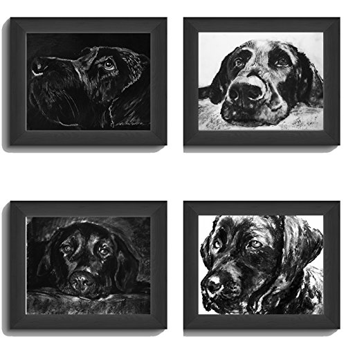 Black Labrador Art Collection, FOUR Labrador Charcoal Wall Art Prints, Black Lab Picture, Labrador Dog Owner Gift, Lab Dog Art, Dog Wall Art Print, Black Labrador Dog Drawing by Oscar Jetson