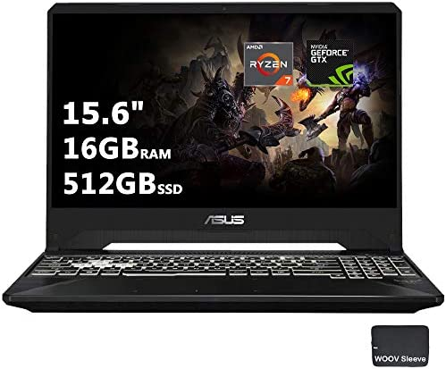 Asus TUF Gaming Laptop 15.6'' | AMD Quad Core Ryzen 7 3750H | NVIDIA Geforce GTX 1650 | Full HD IPS |16GB DDR4 RAM, 512GB PCIE SSD, Backlit Keyboard, Bundled with Woov Sleeve, Windows 10, Black…