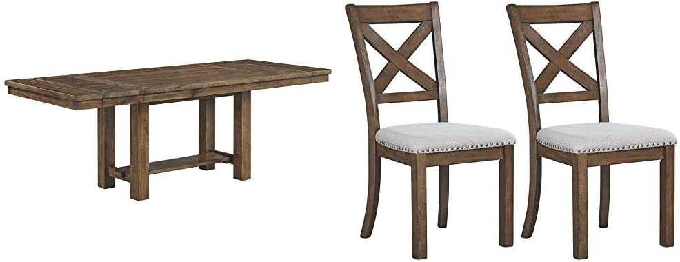 Signature Design by Ashley Dining Room Table, Moriville, Grayish Brown & Moriville Dining Room Chair, Beige