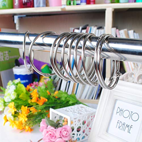 Lola Curtain - LoLa Ling 12Pcs 5cm Round Circular Stainless Steel Shower Curtain Hooks Rings Anti Rust Silver Hinges Closure Mechanism Durable Slideable