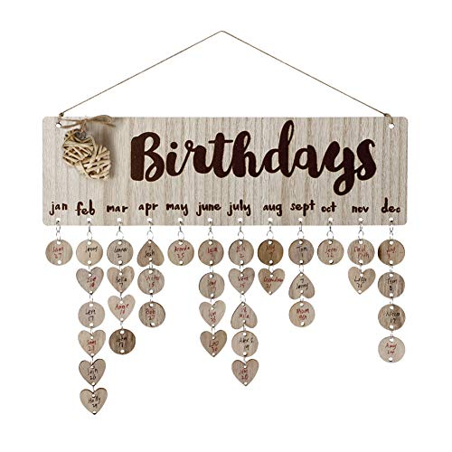 Joy-Leo Gifts for Moms Dads - Wooden Family Birthday Reminder Calendar Board [50 Wood Circles and 50 Wood Hearts with Holes/Birthday Hearts Pattern ], Decorative Birthday Tracker Plaque Wall Hanging]()