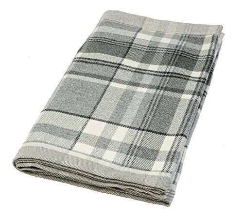 McAlister Heritage Decorative Bed Runner Scarf | 20x95 Charcoal Gray Black & White |Plush Wool-Textured Flannel Plaid | Tartan Check Farmhouse Cabin Accent (Wool Scarf Charcoal)