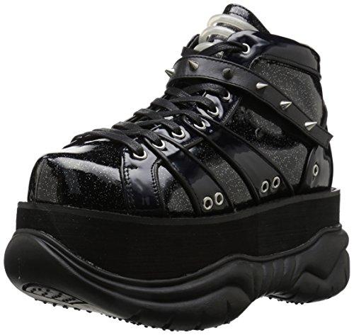 Demonia Neptune-100 Ankle Boot Black Glitter Silver/Vegan Leather