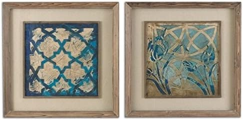 Uttermost Stained Glass Indigo Medium Toned Wood Framed Art Set of 2