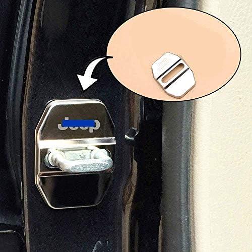 N A 4pcs Car Styling Türschlossabdeckung Für Jeep Wrangler Compass Renegade Patriot Cherokee Grand Cherokee Door Lock Cover Türschloss Schließkappe Edelstahl Auto Protection Zubehör Küche Haushalt