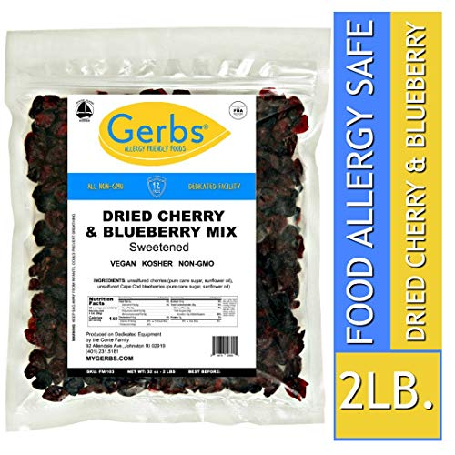 Gerbs Dried Cherry & Blueberry Fruit Mix, 2 LBS. - Food Allergy Safe & Non GMO -Preservative Free - Vegan & Kosher - Made in Rhode Island ...