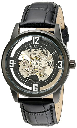 Stuhrling Original Men's 877.06 Winchester Automatic Self-Wind Skeleton Black Genuine Leather Strap Watch