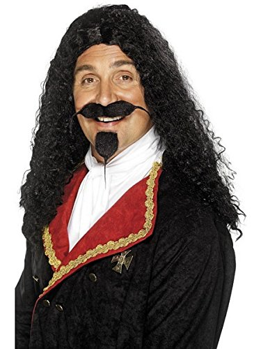 Smiffy's Men's Long and Frizzy Black Wig, One Size, Musketeer Wig, (Renaissance Man Wig)
