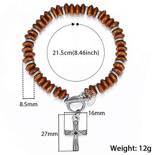 GAJSDJHN Bracelets 8.5Mm Women's Men's Brown Abacus Wood Beads Beaded Bracelet Alloy Cross Bracelet to Buckle Jewelry