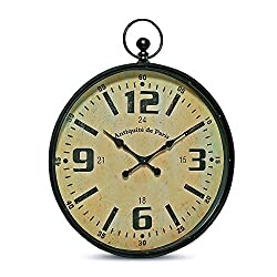 The Oversized Pocket Watch Wall Clock, Over 3 Ft Tall, Antique Style, Riveted Details, Metal Case and Glass Cover, 1 AA Battery Required, By Whole House Worlds