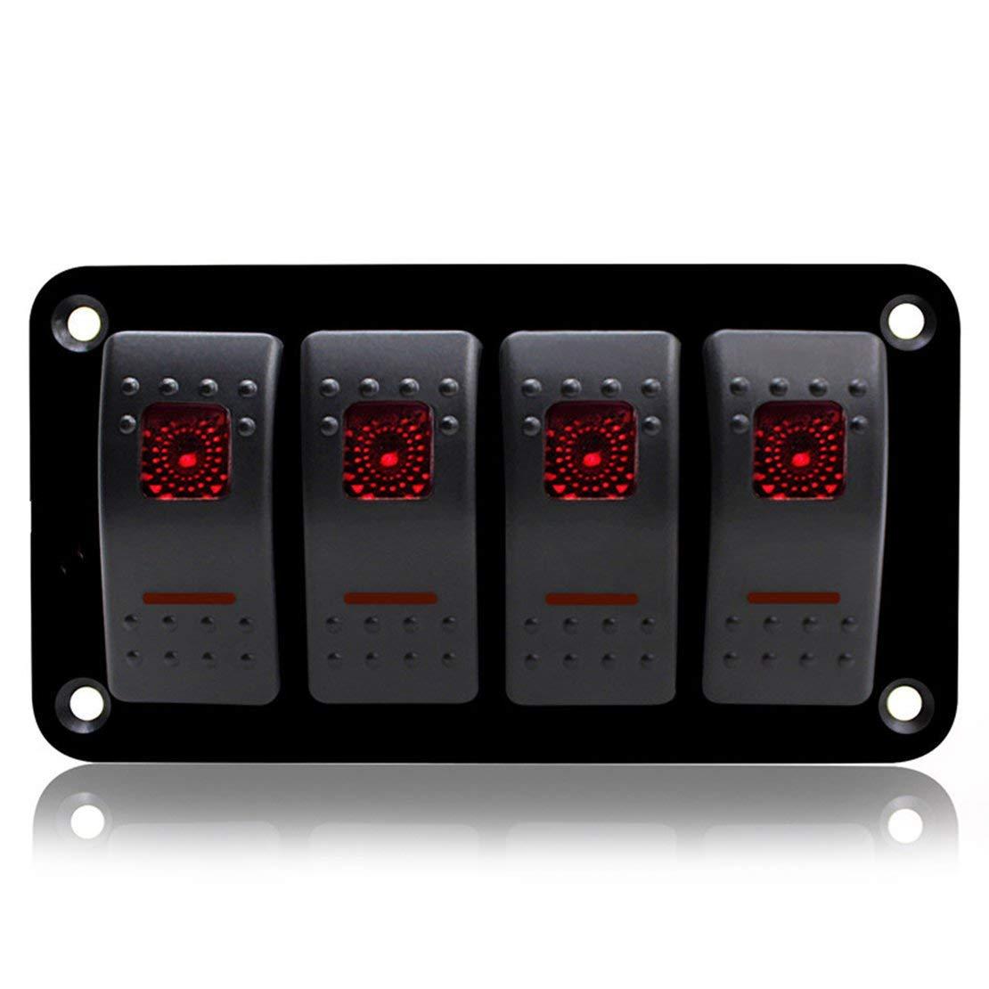 4 Gang Car Marine Boat Caravan Interruptor de panel LED Interruptor profesional Interruptor oscilante Panel de control Circuito impermeable - Negro y rojo y azul Sanzhileg