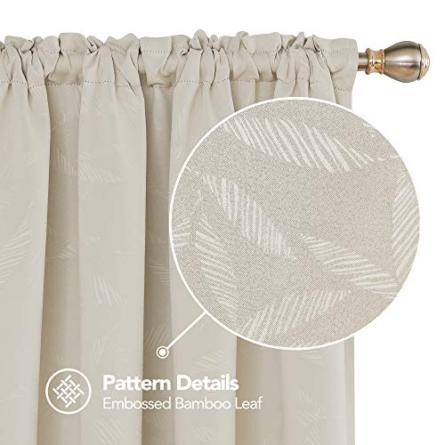 Deconovo Decorative Bamboo Leaf Pattern Thermal Insulated Curtains Rod Pocket Texture Embossed Blackout Curtain for Kids Room 52W X 45L Inch Light Beige One Pair