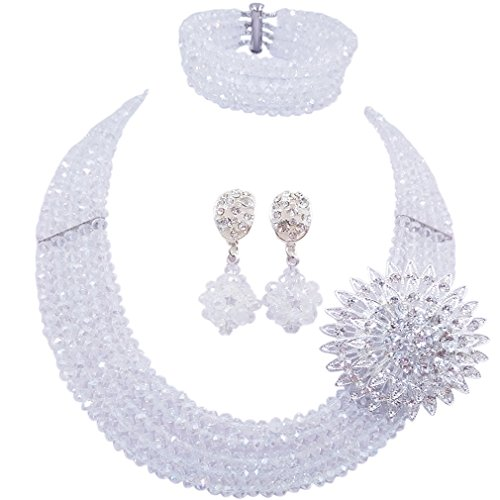 Transparent Necklace And Earring Set - laanc Fashion Lady Jewellery 5 Rows Multicolor Crystal Nigerian Bridel Wedding African Bead Jewelry Sets (Transparent)