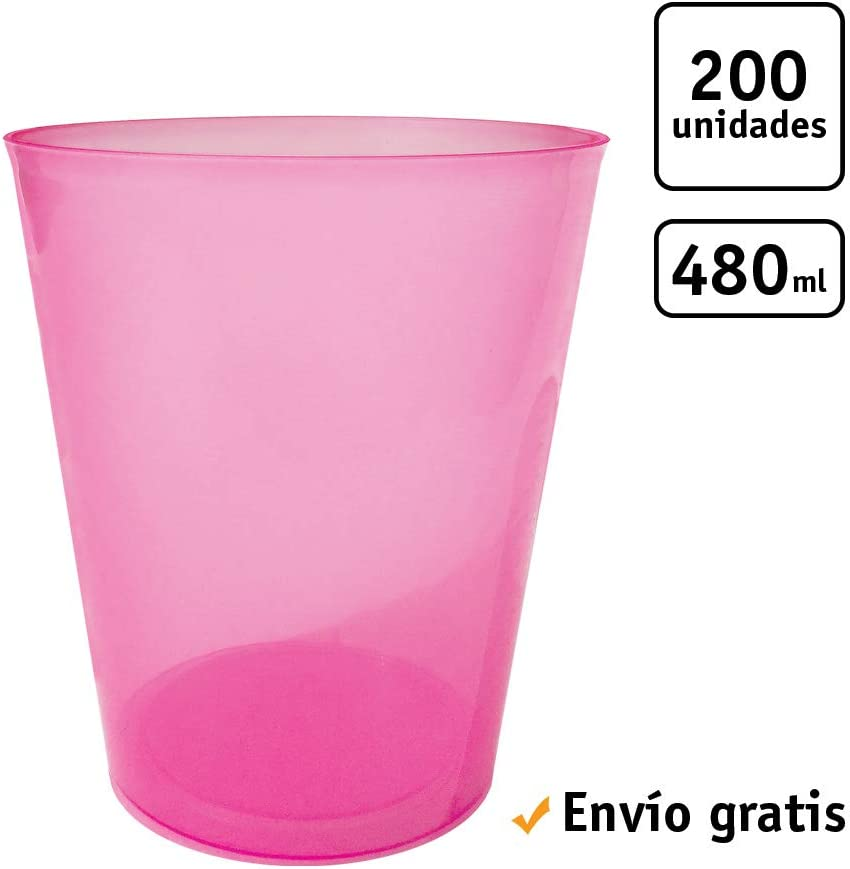 Ideal para Cerveza TELEVASO Agua 1000 uds Vaso Sidra 480 ml Reutilizable Ligero Vaso ecol/ógico Libre de BPA PP - Color Rosa cubatas Polipropileno