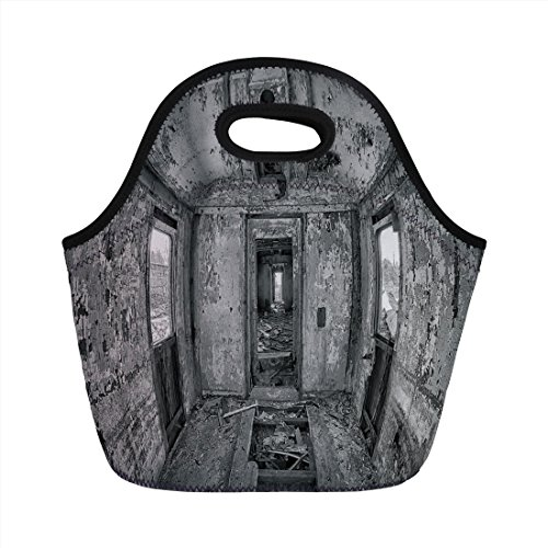 Neoprene Lunch Bag,Rustic Home Decor,Interior of an Antique Aged Railway Wagon Burnt Destruction Picture,Black and White,for Kids Adult Thermal Insulated Tote Bags -