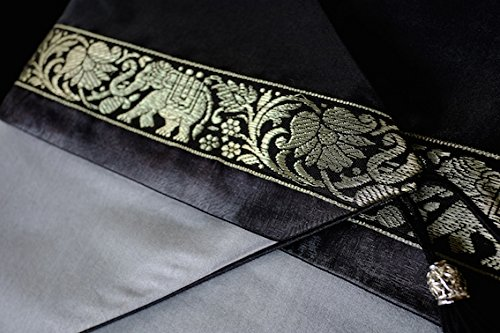 Thai Silk Bed/Table Runner Elephant design 80 inch Grey Black Color by cozymomo