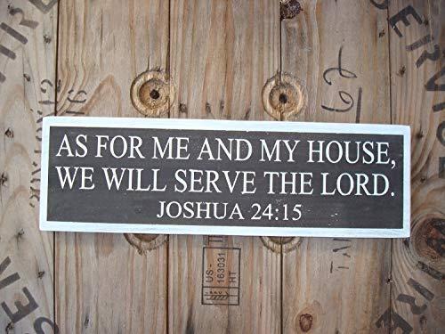 Har3646vey Farmhouse Subway Art Cartel de Madera de Colores neutros con Texto en ingl/és As for me and My House We Will Serve The Lord