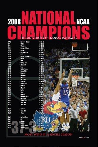 Kansas Jayhawks KU 2008 NCAA National Champions Schedule Print Poster (Ncaa Poster)