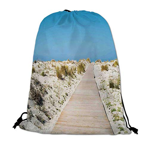 Beach Lightweight Drawstring Bag,Footpath on Le Dune Beach in South of Sardinia Island Italian Style Peaceful Hours for Travel Shopping,One_Size