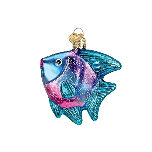 Old World Christmas Glass Blown Blue Angel Fish Ornament