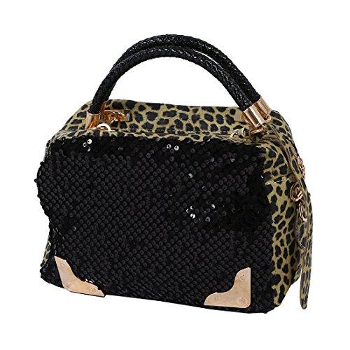 TOOGOO(R) donne trasversale del sacchetto di spalla del messaggero del leopardo del Sequin Borsa