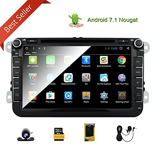 Android 7.1 Nougat Quad-Core Double 2 Din Car Stereo Radio Receiver 8 Inch HD Digital Touch Screen Car DVD Player for Car Volkswagen Head Unit with Bluetooth GPS Navigation CANbus SWC Mirror Link
