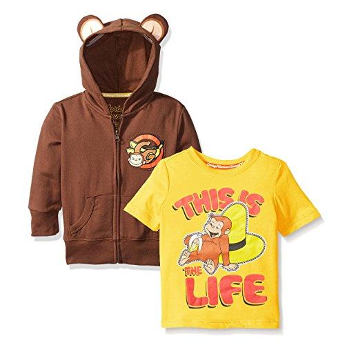 Curious George Zip Up Hoodie and Short Sleeve Tee (2T, Brown/Yellow George)