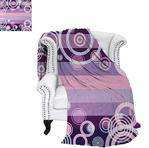 - Velvet Plush Throw Blanket Circles Rounds Bold Borders in Middle 70s 80s Vintage Design Throw Blanket 60