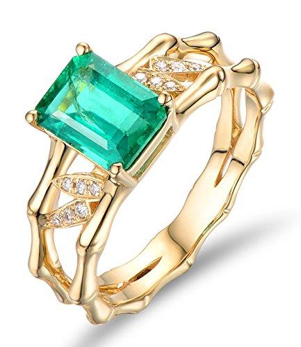 2,25 quilates esmeralda y anillo de compromiso de diamantes de Halo en 10 K