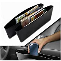 DELHI TRADERSS 2 X Black Car Storage Bag Box Caddy Gap Side Car Seat Slit Pocket Catcher