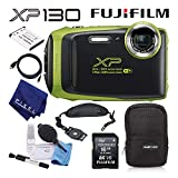 Fujifilm FinePix XP130 Waterproof Digital Camera (Lime) Basic Camera Accessory Bundle with Soft Carrying Case + Professional Cleaning Kit + Much More