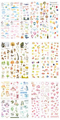 36 Sheets Stickers Set Scrapbooking Stickers for Planner DIY Crafts Scrapbooking Embelishment Diary (Weather Balloon Forest Fruit Girl Cherry Blossom)