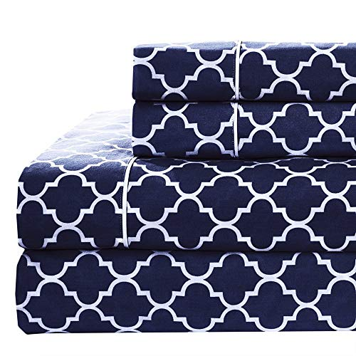 Meridian Navy and White Brushed Percale Cotton Sheets, 4pc Queen Bed Sheet Set 100% Cotton, Superior Percale Weave, Crispy Soft, Deep Pocket, Modern Reactive Print
