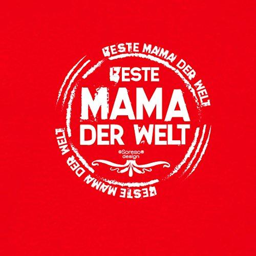 Damen-Girlie-Fun-T-shirt Top Geschenk GRATIS Urkunde - Beste Mama der Welt Farbe: rot Gr: M