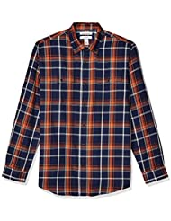 Amazon Essentials Men's Regular-Fit Long-Sleeve Plaid Two-Pocket Twill Shirt