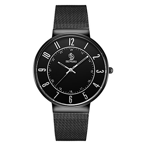 Price comparison product image SENORS Casual Business Men and Women's Thin Watch Stainless Steel Vacuum Plating Band Quartz Wristwatch
