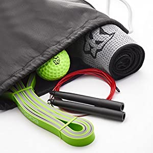 Workout Bag by DS DOG – Best Set for Optimal Training in Any Conditions – Includes Backpack, Dual Color Resistance Band, Foam Massage Ball, Microfiber Sport Towel & Jump Rope (Black) from DS DOG