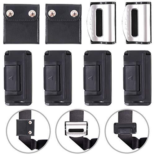 Glarks Seat Belt Adjuster Set, 1 Pair Positioner Locking Clip + 2 Pair of Black Seatbelt Clip + 1 Pair Silver Seat Belt Adjuster for Universal Vehicle Car Seat Use ()