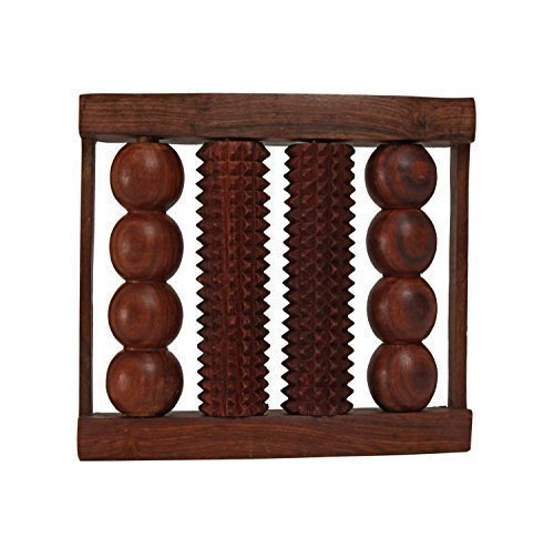 Wooden 4 Rods Foot Massager for Pain & Stress Relieving Handcrafted Acupressure Tools, Large Dual Foot Massager Roller – Plantar Fasciitis, Heel & Arch Pain Relief
