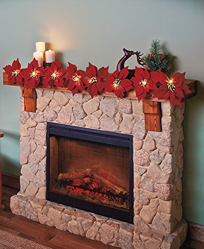 Lighted Poinsettia Garland (Red) by GetSet2Save