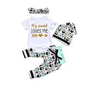 FEITONG 4Pcs Infant Baby Boys Girls Cartoon owl Print Rompers Jumpsuit Pants Hat Headbands Outfits Set