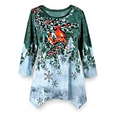 WOCACHI Final Clear Out Christmas Womens Blouses Xmas Drape Hem Sweatshirt Pullover Tops Shirts Black Friday Cyber Monday Winter Bottoming Shirt Reindeer Crew Neck Warm (Green, XX-Large)