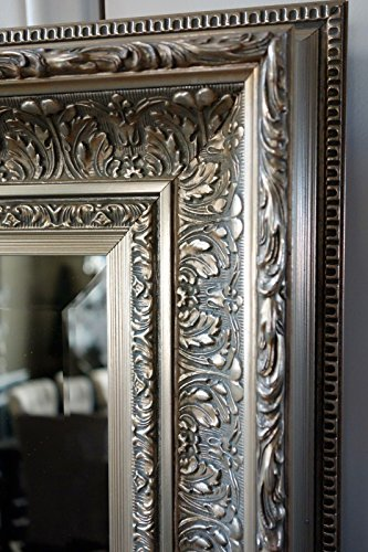 "West Frames Elegance Ornate Embossed Wood Framed Wall Mirror (37"" x 55"", Silver Gold)"