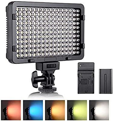 Luz de video LED, ESDDI 176 LED Ultra Brillante Regulable CRI 95+ ...