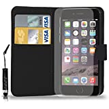 Apple iPhone 6 Leather Wallet Flip Case Cover Pouch & Mini Touch Stylus Pen + Free Screen Guard & Cleaning Cloth - BLACK
