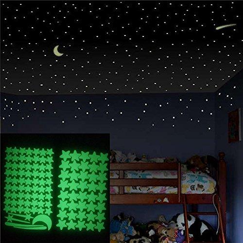 Euone Luminous Stickers, 103 pcs Glow in The Dark Star Wall Stickers 103Pcs Star Moon Luminous Kids Room Decor Decals